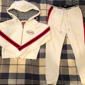 Matching sweatshirt and sweatpants